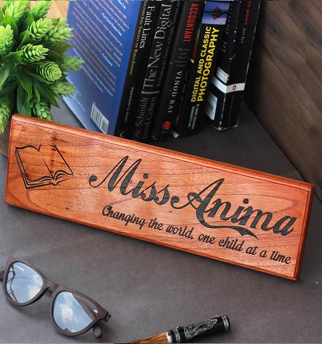 Personalized Wooden Nameplate for Teachers woodgeekstore 2000x