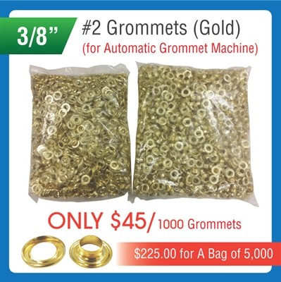 "#2 Grommets - 3/8"" - Gold Color - for Automatic Grommet Machine"