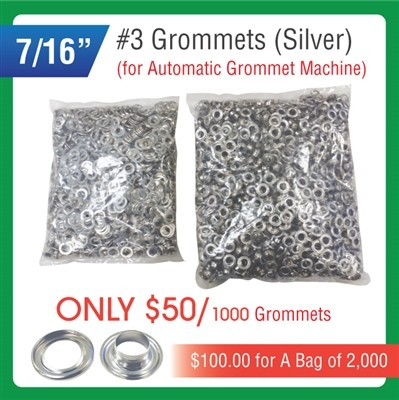 "#3 Grommets - 7/16"" - Silver Color - for Automatic Grommet Machine"