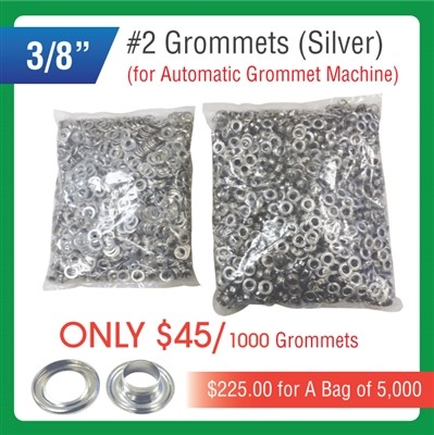 "#2 Grommets - 3/8"" - Silver Color - for Automatic Grommet Machine"