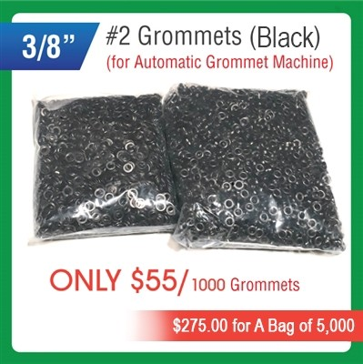 "#2 Grommets - 3/8"" - Black Color - for Automatic Grommet Machine"