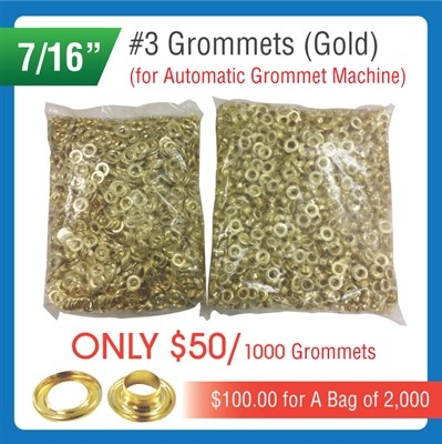 "#3 Grommets - 7/16"" - Gold Color - for Automatic Grommet Machine"